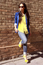 yellow tank My Counter Collection blouse - navy Guess jeans - blue Zara blazer