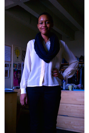 black jeans - blue jacket - navy scarf - cream blouse