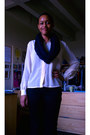 Black-jeans-blue-jacket-navy-scarf-cream-blouse