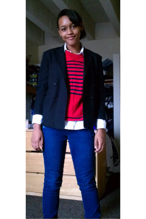 black blazer - navy jeans - ruby red shirt - white blouse