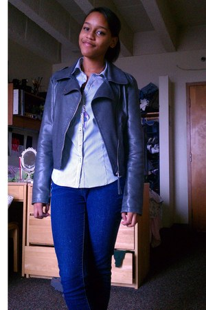 heather gray jacket - navy jeans - white blouse