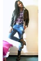 black vintage jacket - gray H&M sweater - purple Market shirt - gray American Ap