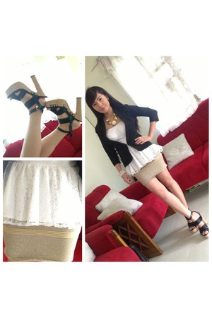 black blazer - black bandage wedges
