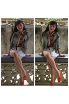 orange floral Monkee Business top - navy stripes f21 blazer