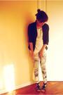 White-zara-t-shirt-black-zara-blazer
