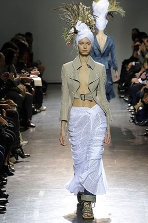 junya wantabe scarf - junya wantabe blazer - junya wantabe skirt - junya wantabe