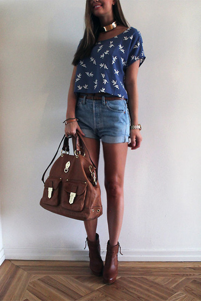 brown bag - dark brown shoes - sky blue shorts - dark brown belt - blue t-shirt