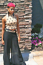 black sheer pants - tan crop top