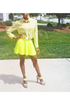 lime green neon skater skirt