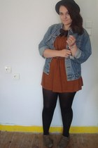 black H&M hat - tawny Topshop dress - blue vintage jacket