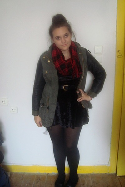 black velvet Topshop dress - army green Primark jacket - crimson Tiger scarf