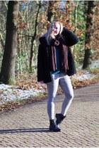 black black boots Topshop boots - black teddy Seven Sisters coat
