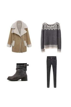 charcoal gray Choies boots - light brown Choies coat - dark gray Choies jeans