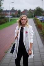 off white wool Yesstyle coat - skinny wibra jeans - black mesh Yesstyle shirt