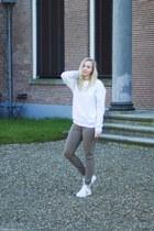 white H&M sweater - white Twinkeltje pants - dark khaki Twinkeltje sneakers