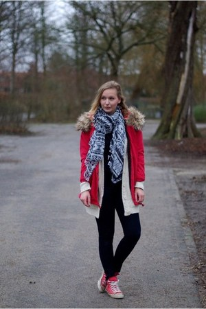 ruby red Yesstyle coat - navy Choies jeans - black Choies shirt