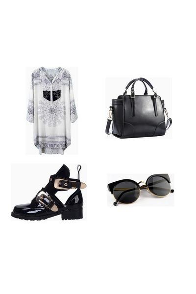 Choies boots - Choies dress - Choies bag - Choies sunglasses