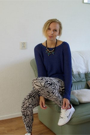 H&M sweater - PERSUNMALL leggings - nike sneakers - Lovelywholesale necklace