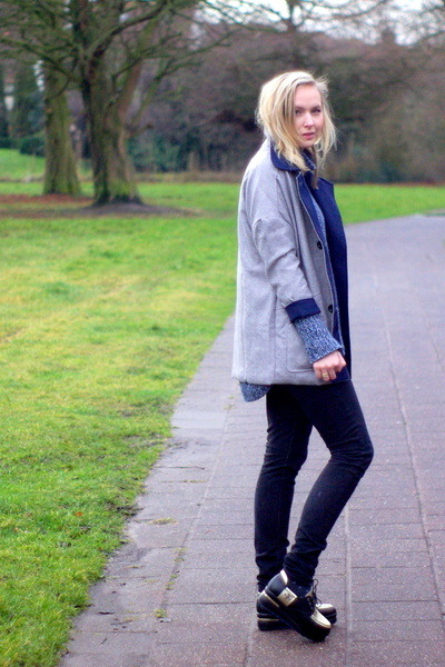 Lovelywholesale coat - platforms PERSUNMALL shoes - H&M jeans - knit H&M sweater