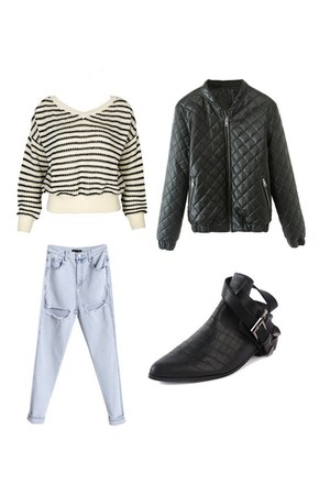 Choies shoes - Choies jeans - Choies jacket - Choies sweater