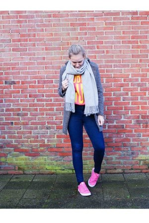 heather gray Lovelywholesale coat - blue Choies jeans - coral Yesstyle sweater