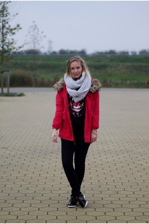 black Yesstyle shoes - ruby red Yesstyle coat - wibra jeans