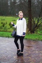 black creepers Buyincoins shoes - white knit H&M sweater