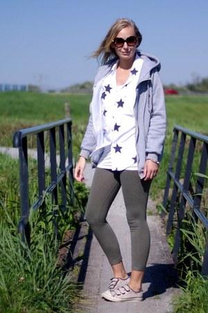 Yesstyle hoodie - H&M leggings - Yesstyle blouse - Vans sneakers