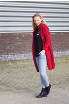 red red Yesstyle cardigan - black black Topshop boots