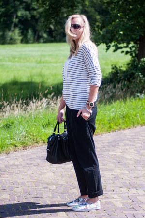 black leather liebeskind berlin bag - white knitted Miss Etam sweater
