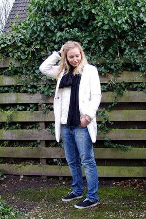 ivory Yesstyle coat - blue denim Superstar jeans - ivory knit Yesstyle sweater