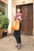magenta vintage shirt - bronze vjstyle bag - black Mango pants