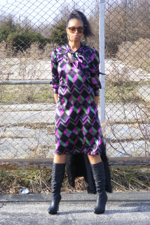 dvf dress - Carlos Santana boots - brown MangoMNG sunglasses