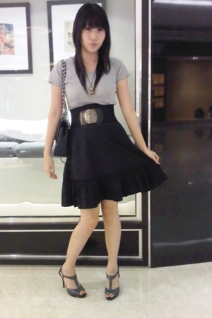 random shirt - random skirt - random belt - Charles & Keith shoes - Chanel purse