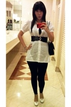 Zara shirt - dunno leggings - my momsold time belt - charles&keith shoes - Chane
