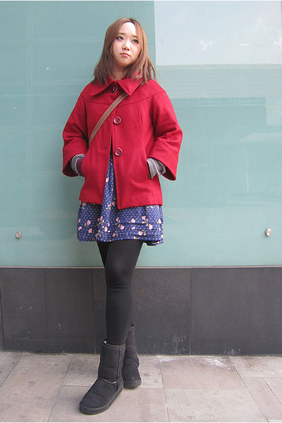 black Vans boots - ruby red Forever21 coat - blue Forever21 skirt