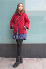 Black-vans-boots-ruby-red-forever21-coat-blue-forever21-skirt