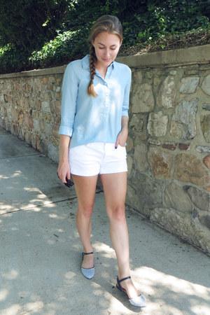 white Gap shorts - light blue Loft shirt - navy modcloth flats