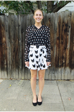 black cat print American Rag shirt - white cat print H&M skirt