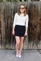 heather gray striped JCrew Factory sweater - black JCrew Factory skirt