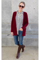 maroon JCrew cardigan - brown Cole Haan boots - blue madewell jeans