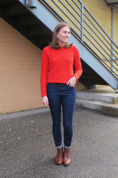 red Gap sweater - brown modcloth boots - navy madewell jeans