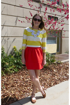 yellow striped JCrew Factory sweater - red madewell skirt
