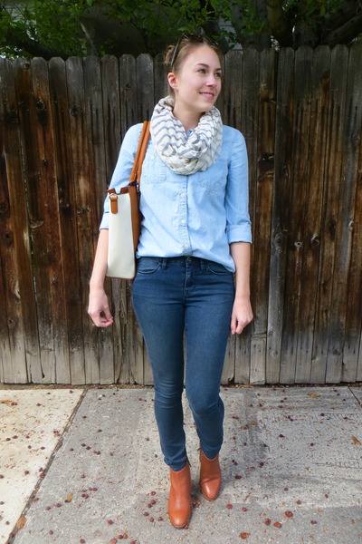 navy madewell jeans - brown madewell boots - light blue chambray Old Navy shirt