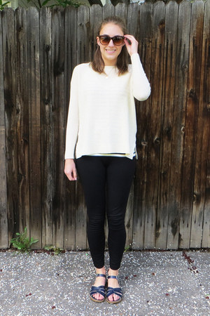 navy striped JCrew Factory top - ivory Joie sweater - black JCrew pants