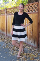 black JCrew Factory t-shirt - camel carrini flats - black striped modcloth skirt