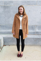 black Moorea Seal necklace - camel modcloth coat - ivory madewell sweater