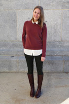 maroon everlane sweater - brown Cole Haan boots - white Uniqlo shirt