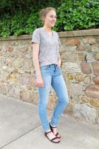 light blue madewell jeans - heather gray modcloth t-shirt