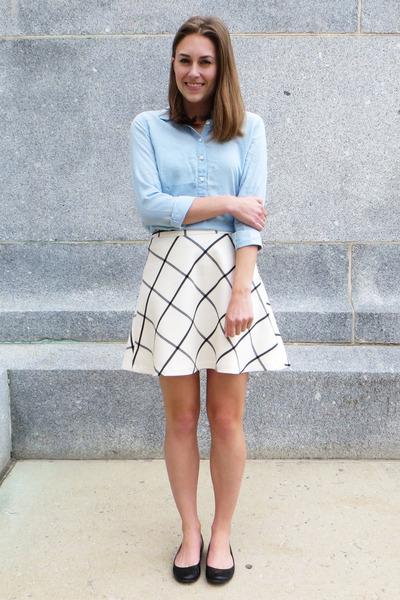 ivory Loft skirt - light blue Loft shirt - black JCrew flats
